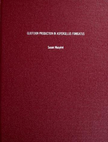 Gliotoxin Production in Aspergillus fumigatus - Columbus State ...