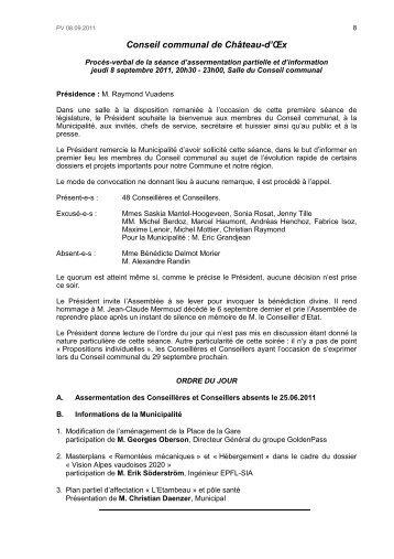 Procès-verbal de la séance du 08 septembre 2011 - Château-d'Oex