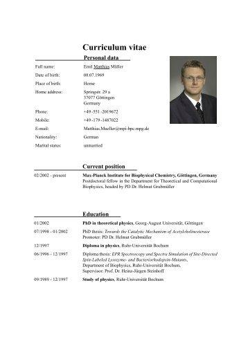 CV Dr. Matthias Müller - Max-Planck-Institut für biophysikalische ...