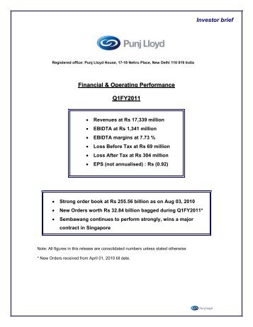 Financial and Operating Performance Q1FY2011 - Punj Lloyd Group