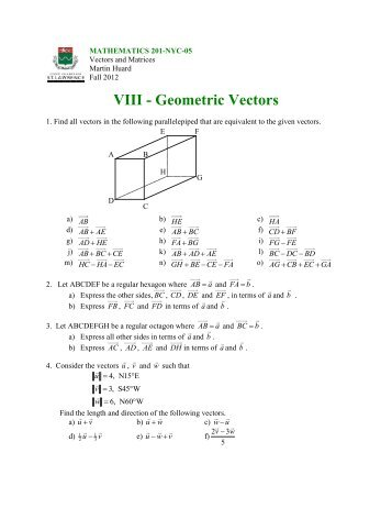 VIII - Geometric Vectors - SLC Home Page