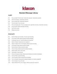 Standard Message Library - Klaxon Signals Ltd.