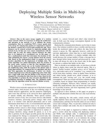 Deploying Multiple Sinks in Multi-hop Wireless Sensor Networks