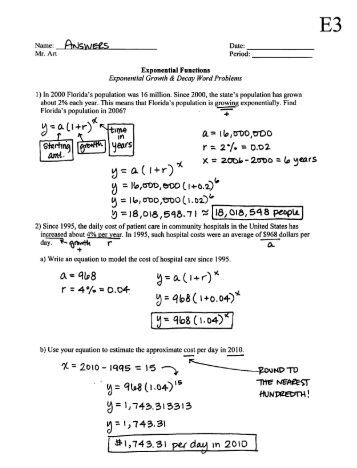 Printables Exponential Growth And Decay Worksheet exponential growth worksheets with answers intrepidpath functions decay worksheet e3 mrart wikies s
