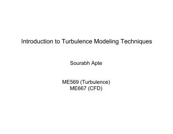 Introduction to Turbulence Modeling Techniques - Ocean Mixing ...