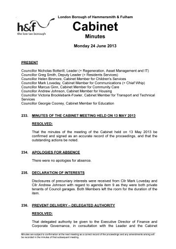 Minutes of the Cabinet Meeting held on 24 June 2013 PDF 80 KB