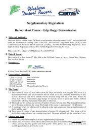Edge Buggy Demonstration Regulations - Off Road Racing - Australia