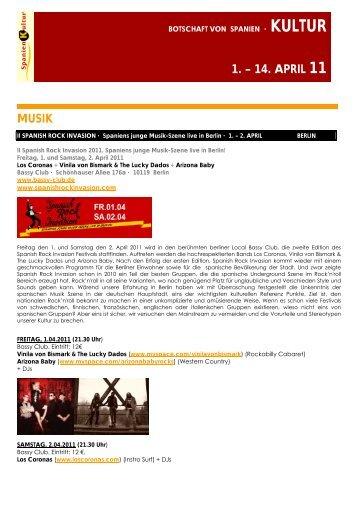 MUSIK 1. – 14. APRIL 11 - Spain