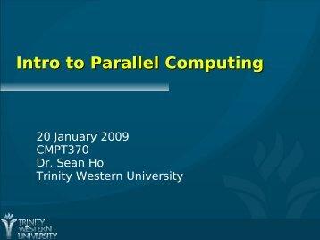 Intro to Parallel Computing