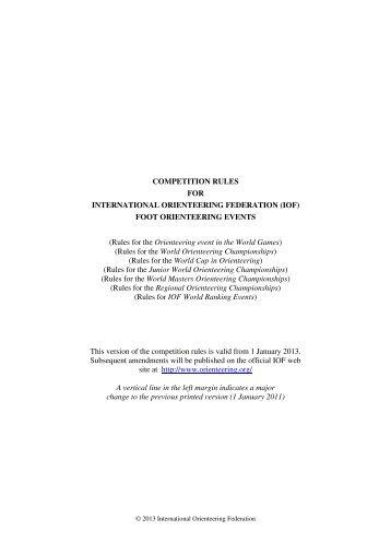 Rules for the Orienteering event in - International Orienteering ...