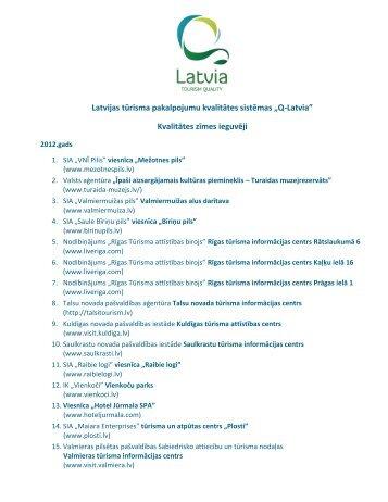 """Latvijas tūrisma pakalpojumu kvalitātes sistēmas """"Q-Latvia ..."""