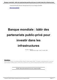 Banque mondiale : bâtir des partenariats public-privé pour investir ...
