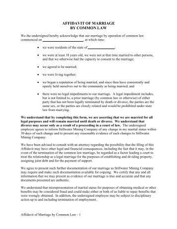 Affidavit of common law marriage employee name affidavit of marriage by common law thecheapjerseys Choice Image