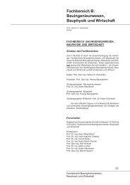 Fachbereich B: Bauingenieurwesen, Bauphysik und Wirtschaft