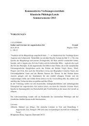 Kommentiertes Vorlesungsverzeichnis - Klassische Philologie / Latein
