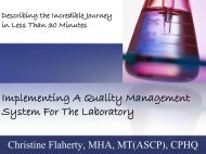 Implementing A Quality Management System For The Laboratory