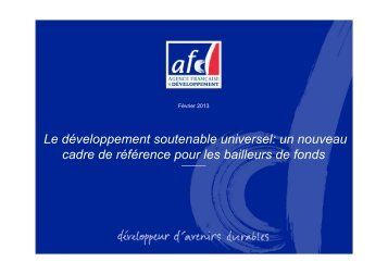 Le développement soutenable universel: un nouveau cadre ... - Iddri