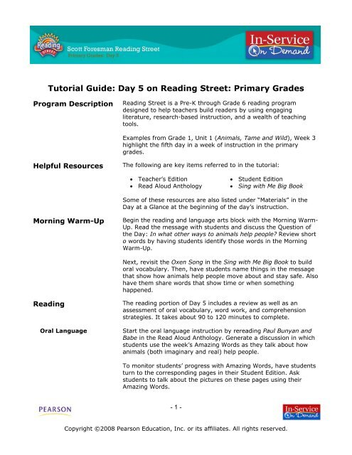 Tutorial Guide  Day 5 on Reading Street - my Pearson Training 8444872e916