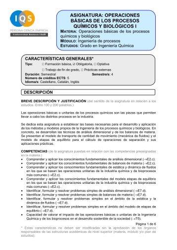 asignatura: operaciones básicas de los procesos químicos y ... - IQS