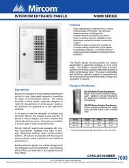 N3000 Series Intercom Entrance Panels Data Sheet - Mircom