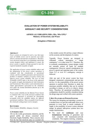 Evaluation of power system reliability adequacy and security ...