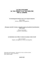 La via italiana al tax credit e al tax shelter per il cinema - Mediacoop
