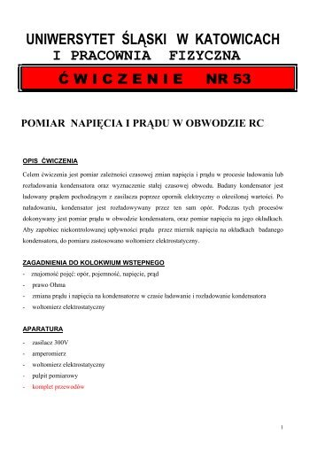 Pomiar napięcia i prądu w obwodzie RC. - Uniwersytet Śląski