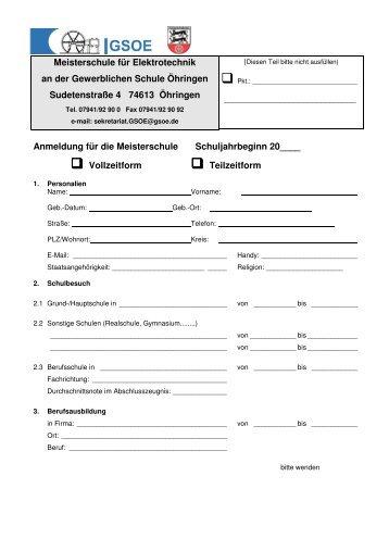 Anmeldeformular - Gewerbliche Schule Öhringen