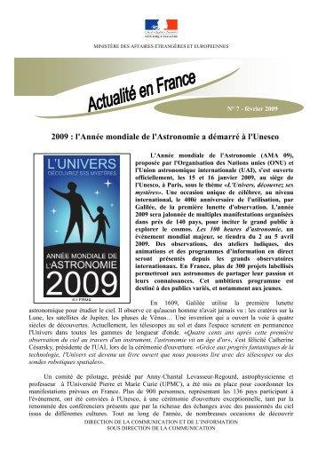 2009 : l'Année mondiale de l'Astronomie a démarré à l'Unesco