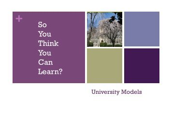 So You Think You Can Learn? - Georgetown University