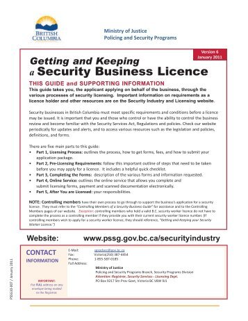Getting and Keeping a Security Business Licence - Ministry of Justice