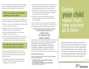 Giving your child more than one vaccine at a time - Ontario.ca