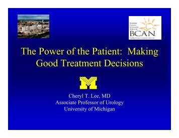 The Power of the Patient: Making Good Treatment Decisions