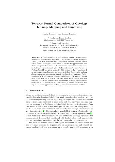 Towards Formal Comparison of Ontology Linking, Mapping and ...