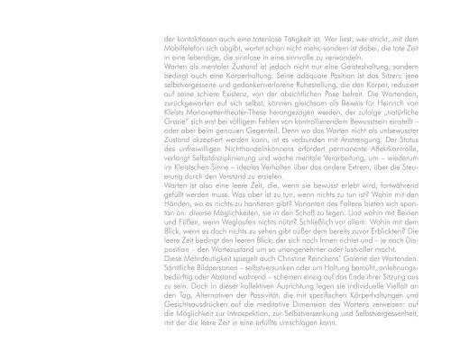 Katalog Variationen des Wartens - Christine Reinckens