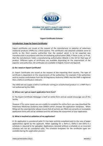 Export Certificates FAQs - Veterinary Medicines Directorate - Defra