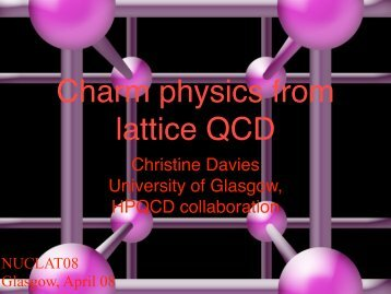 Christine Davies - Nuclear Physics - University of Glasgow