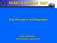 Risk perception and regulation - REBECA