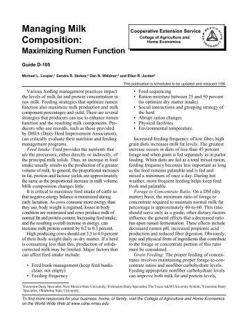 Managing Milk Composition: Maximizing Rumen Function - NMSU's ...
