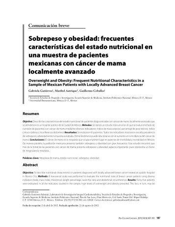 Sobrepeso y obesidad - Instituto Nacional de Cancerología