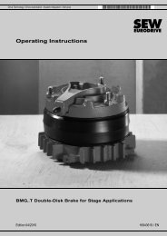 BMG..T Double-Disk Brake for Stage Applications - SEW-Eurodrive