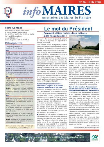 Info-Maires 26 - Association des Maires du Finistère