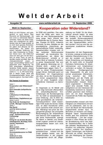 WdA September 2006 - Welt der Arbeit