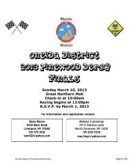 Oneida District Pinewood Derby Rules