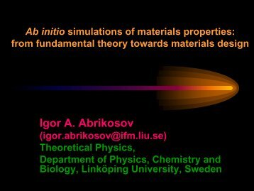 Ab initio simulations of materials properties - prace