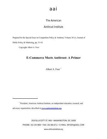 E-Commerce Meets Antitrust: A Primer - American Antitrust Institute