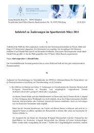 Infobrief zu Änderungen im Sportbetrieb März 2011