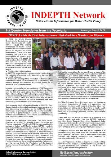INDEPTH Newsletter no. 1, 2013 - INDEPTH Network