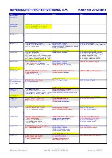 BAYERISCHER FECHTERVERBAND EV Kalender 2012/2013