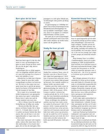 Barn spiser det de lærer Stadig fler leser på nett Kosmetisk kirurgi ...